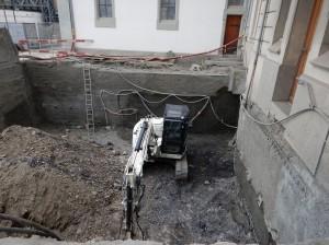 Baustelle an der deutschen Kirche Montreux, Februar 2015